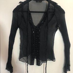 BCBGMAXAZRIA silk/sheer long sleeve shirt, size S